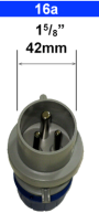 galvanic isolator - zinc saver - connecting plug showing measurements of 16a connector