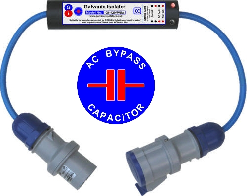 galvanic isolator with ac bypass capacitor