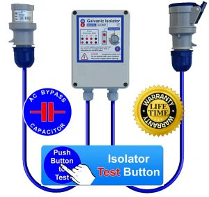 galvanic isolator with test button