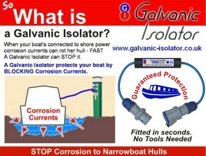 galvanic isolator for ferrocrete hull
